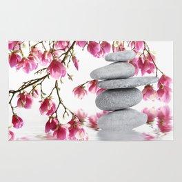 Magnolia flowers and zen stones 10 Rug
