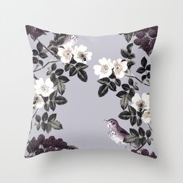 Birds and the Bees Blue Gray Throw Pillow