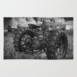 Abandoned Old Farmall Tractor in Black and White Rug