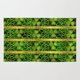 Irish Shamrock -Clover Gold and Green pattern Rug