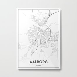 Minimal City Maps - Map Of Aalborg, Denmark. Metal Print