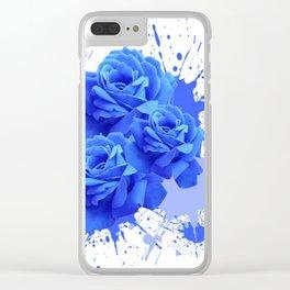MODERN ART  BLUE ROSE PATTERN WATERCOLOR SPLATTER Clear iPhone Case
