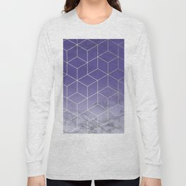 Geometric Marble Ultraviolet Purple Gold Long Sleeve T-shirt