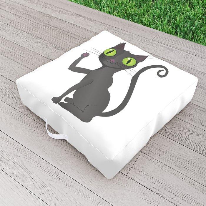 Black cat vector Outdoor Floor Cushion
