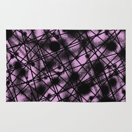 Web Of Lies - Black and pink conceptual, abstract, minimalistic artwork Rug