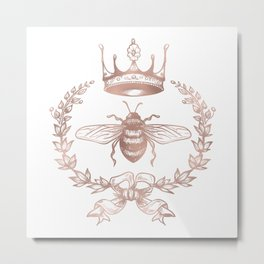 Queen Bee in Rose Gold Pink Metal Print