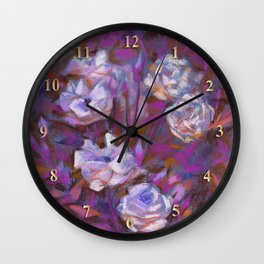 White roses, purple leaves Wall Clock