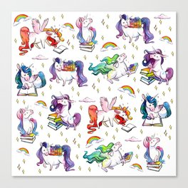 Reading Unicorn Pattern Canvas Print