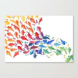 Origami rainbow fish Canvas Print
