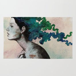Moral Eclipse (colorful hair woman with moths tattoos) Rug
