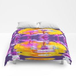 PURPLE-WHITE IRIS & MOON WATER GARDEN  REFLECTION Comforters