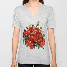 Bright Red French Garden Roses Unisex V-Neck