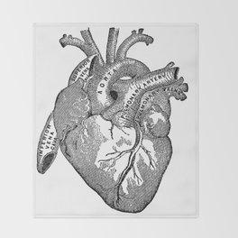 Vintage Anatomy Heart Throw Blanket