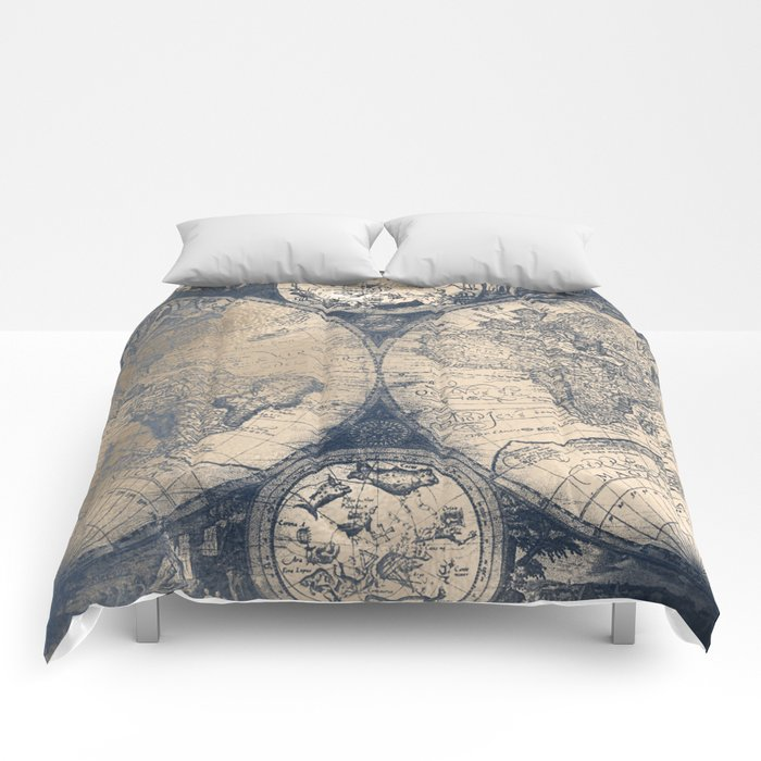 Antique world map white gold navy blue by nature magick comforters antique world map white gold navy blue by nature magick comforters gumiabroncs Image collections