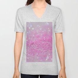 Sparkling Baby Girl Pink Glitter Effect Unisex V-Neck