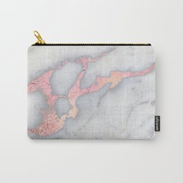 Rosegold Pink on Gray Marble Metallic Foil Style Carry-All Pouch