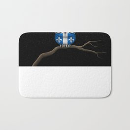 Baby Owl with Glasses and Quebec Flag Bath Mat
