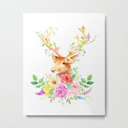 Watercolor Deer and Rose Bouquet Metal Print