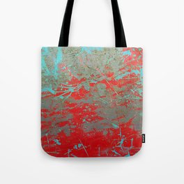 texture - aqua and red paint Tote Bag