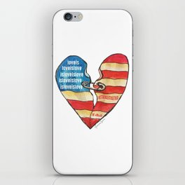 Torn Heart Flag Held Together With a Safety Pin iPhone Skin