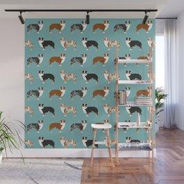 Australian Shepherd owners dog breed cute herding dogs aussie dogs animal pet portrait hearts Wall Mural