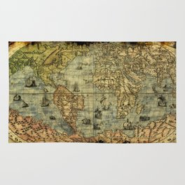Vintage Old World Map Rug