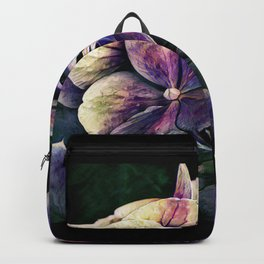Hortensia flowers in vintage grunge watercoloring style Backpack