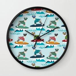 schnauzer surfing dog breed pattern Wall Clock