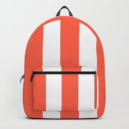 Tomato red - solid color - white vertical lines pattern Backpack