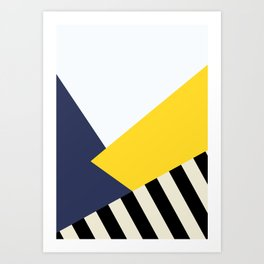 Bold Yellow Memphis Triangle Art Print