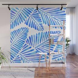 Tropical Banana Leaves – Blue Palette Wall Mural