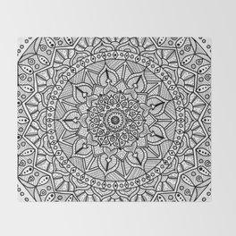 Circle of Life Mandala Black and White Throw Blanket