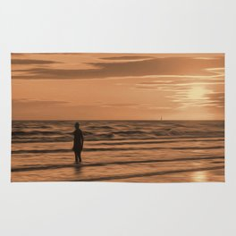 A Gormley Iron man at sunset (Digital Art) Rug