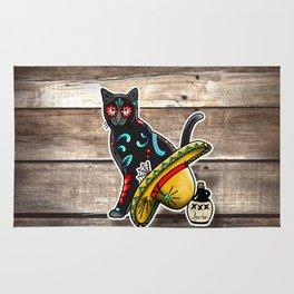 Gato en un Sombrero - Day of the Dead Sugar Skull Cat - Dia de los Muertos Kitty Rug