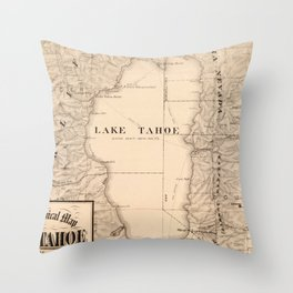 Vintage Map of Lake Tahoe Calfornia (1874) Throw Pillow