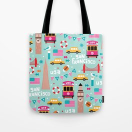San Francisco travel - Retro style illustration pattern Tote Bag