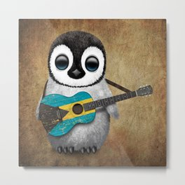 Baby Penguin Playing Bahamas Flag Acoustic Guitar Metal Print