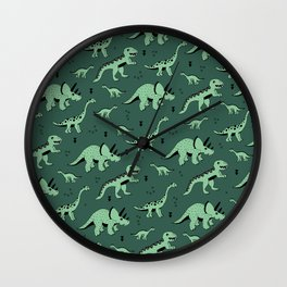 Dinosaur jungle love quirky creatures illustration Wall Clock