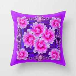 Purple Amethyst Gems  & Pink-purple Floral Patttern Abstract Throw Pillow