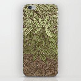 Polynesian Tribal Tattoo Shades Of Green Floral Design iPhone Skin