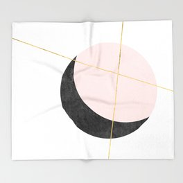 Pink Moon, Contemplation, Full Moon, Faux Gold Lines, Pink Black White Throw Blanket