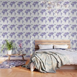 World Map Light Blue Purple Indigo Wallpaper