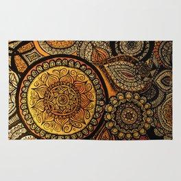 Sunburst Mandala Collage Rug