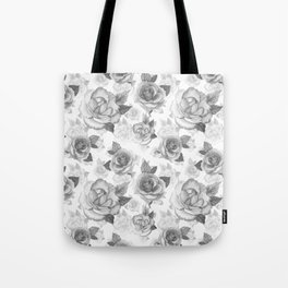 Hand painted black white watercolor roses floral pattern Tote Bag