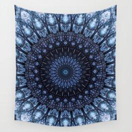 Dark and light blue mandala Wall Tapestry