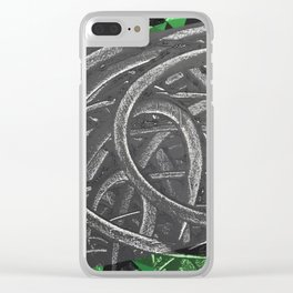 Junction - green/black graphic Clear iPhone Case