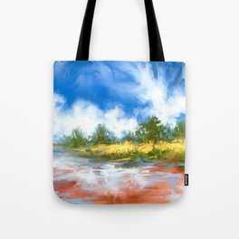 Summer Lake landscape Tote Bag