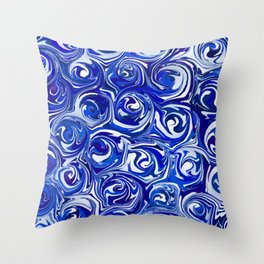 China Blue Paint Swirls Throw Pillow