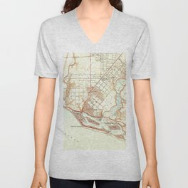 Vintage Map of Newport Beach California (1951) Unisex V-Neck