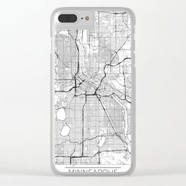 Minneapolis Map White Clear iPhone Case